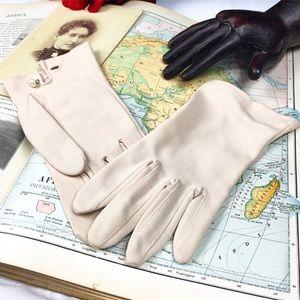 Vintage Beige Wrist Evening Driving Gloves